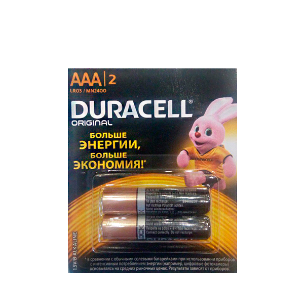 Батарейки Duracell AAA 2 LR03/MN2400 2 шт. (отрывной набор)